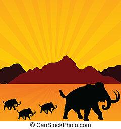 vecteur, mammouth, désert, illustration
