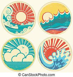 vecteur, mer, soleil, waves., marine, icônes, vendange, illustration