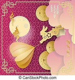vecteur, mi, fleur coupure, symbole, festival, lune, cloud., hiéroglyphes, sombre, doré, bonheur, mouches, volumineux, fond, pourpre, chinois, couleur coeur, lièvre, automne, double, papier