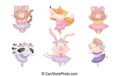 vecteur, mignon, ballet, dessin animé, animaux, danse, ensemble, jupe