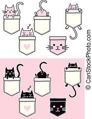 vecteur, mignon, chat, ensemble, poche