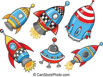 vecteur, mignon, ensemble, super, fusée