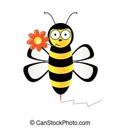 vecteur, mignon, fleur, illustration, abeille