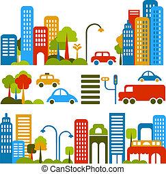 vecteur, mignon, rue, illustration, ville