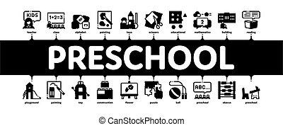 vecteur, minimal, infographic, préscolaire, bannière, education