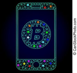 vecteur, mobile, chistmas, bitcoin, taches, polygonal, incandescent, maille, banque