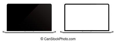 vecteur, mockup, ordinateur portable, screen., vide, moderne