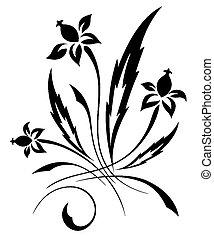 vecteur, modèle, fleur blanche, noir
