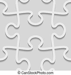 vecteur, modèle, puzzle, seamless, papier, 3d