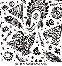 vecteur, modèle, seamless, symboles, indien amérique, indigène