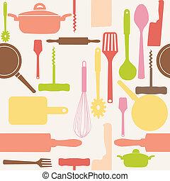 vecteur, modèle, tools., seamless, cuisine
