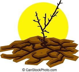 vecteur, mort, toqué, désert, terre, arbre, sec
