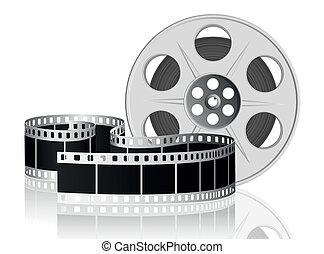 vecteur, movie., illustration., pellicule, tordu