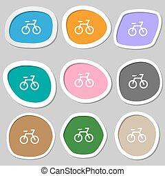 vecteur, multicolore, papier, icône, stickers., vélo, symbols.