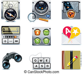 vecteur, navigation, icons., p.2, gps