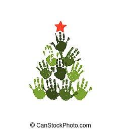 vecteur, noël, gosses, famille, 10, art., star., arbre, isolé, illustration, handprint, aquarelle, eps, crafts., carte, handdrawn, blanc, acrylique, enfants, rouges, design.