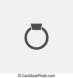 vecteur, noir, color., icône, eps10, anneau, illustration