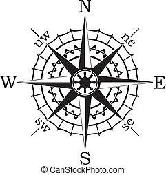 vecteur, noir, compas