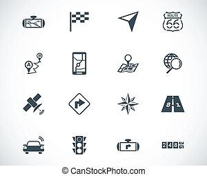 vecteur, noir, ensemble, navigation, icônes