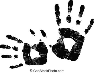 vecteur, noir, handprint