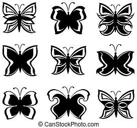 vecteur, noir, isolé, blanc, collection, papillons, illustration