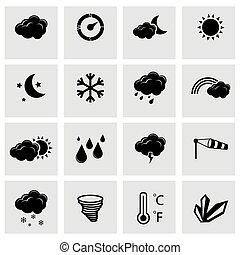 vecteur, noir, temps, ensemble, icônes