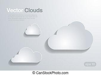 vecteur, nuages, collection., arrière-plan.