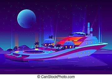 vecteur, nuit, avenir, croisière, fête, bateau