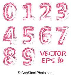 vecteur, numbers., rouges, manuscrit