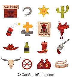 vecteur, occidental, icons., cow-boy, vieux, conceptions, signe, graphiques, américain, vendange