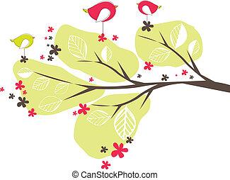 vecteur, oiseaux, arbre., fond, illustration