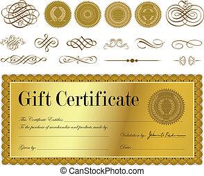 vecteur, or, certificat