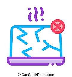 vecteur, ordinateur portable, icône, illustration, démoli, contour