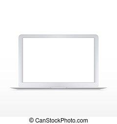 vecteur, ordinateur portable, moderne, isolé, blanc