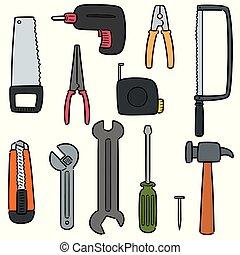 vecteur, outils, ensemble construction