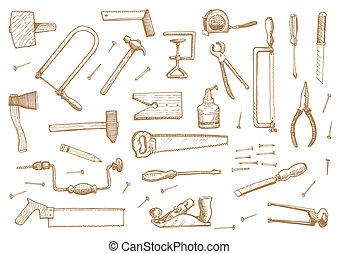 vecteur, outils, ensemble, stockage, vendange