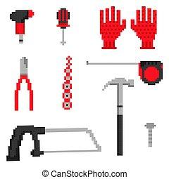 vecteur, outils, pixel, illustration