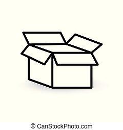 vecteur, ouvert, icon-, illustration, boîte