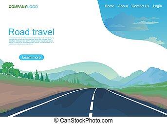 vecteur, page, route, montagnes, champs, illustration