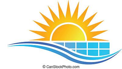 vecteur, panneau solaire
