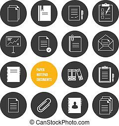 vecteur, papier, bloc-notes, documents, icône
