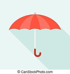 vecteur, parapluie, rouges, icône