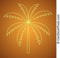 vecteur, paume, arbre., silhouette, illustration