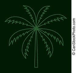 vecteur, paume, arbre., silhouette, illustration.
