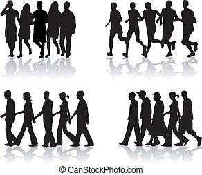 vecteur, people-, marche, travail, 1