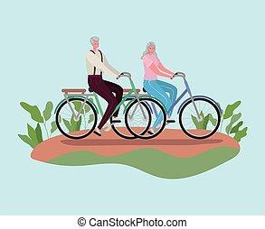 vecteur, personne agee, conception, femme, équitation, dessins animés, homme, vélos