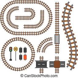 vecteur, pistes, construction, ferroviaire, chemin fer, éléments