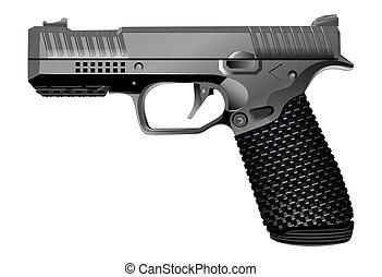 vecteur, pistolet, fond, isolé, blanc, illustration