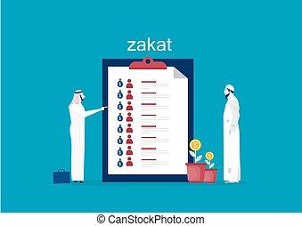 vecteur, planche, zakat, ménage, homme affaires, sur, réunion