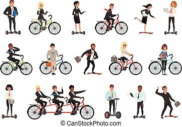 vecteur, plat, différent, segway, hoverboard, bureau, vêtements, ouvriers, hommes, vélo, véhicules, business, ensemble, skateboard., femmes, désinvolte, gens., électrique